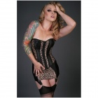 LC852966 Sexy Cheetah Print Corset and Mini Skirt (Size M)