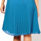 LC861496 Elegant Charming Lace Midi Skater Dress with Pleated Skirt - Sky Blue
