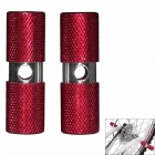 Bicycle Aluminum Alloy Footrests - Red + Silver (Pair)