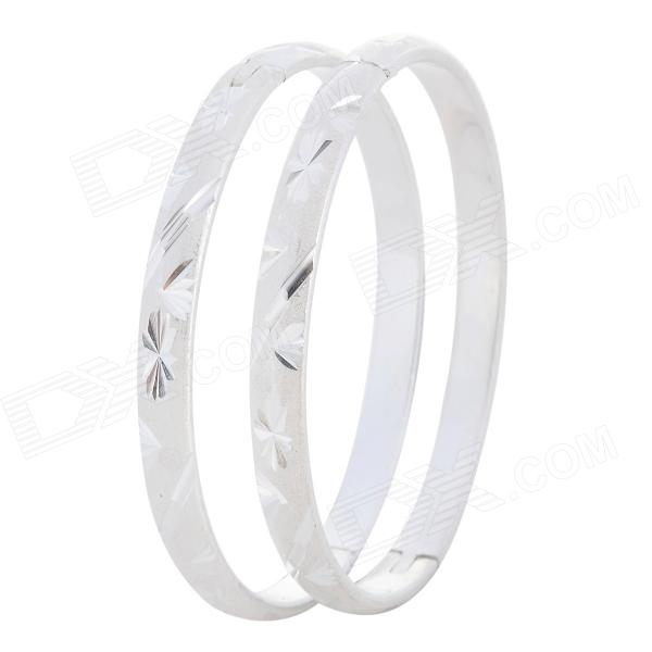 DYSZ-006 Romantic Couple's Flower Embedded Silver-plated Copper Bracelets - Silver (2 PCS / 6cm)