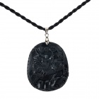 Fenlu QL-040 Men's Strand Chain Obsidian Chinese Unicorn Pendant Necklace - Black (38cm)