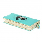 Cute Cartoon Cat Pattern PU Long Wallet for Women - Black + Green