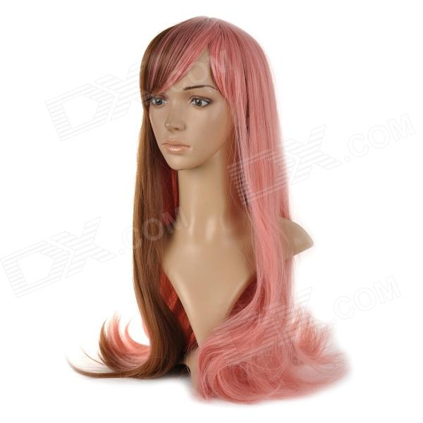 Fashion Synthetic Fiber Gradient Long Curly Wig w/ Bang - Pink + Brown