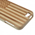 American Flag Protective Wooden Back Case for IPHONE 5 - Wood + Brown
