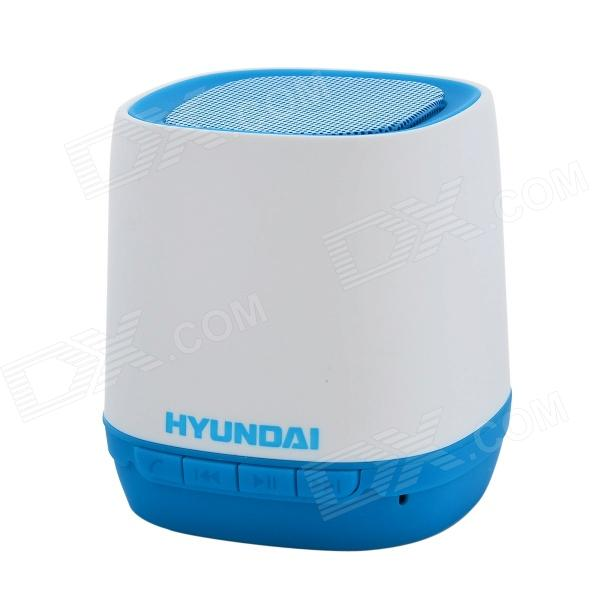 Hyundai i80 Portable USB Rechargeable Bluetooth V3.0 + EDR Stereo Speaker w/ TF Slot - Blue + White t050 3w mini portable retractable stereo speaker w tf black golden 16gb max