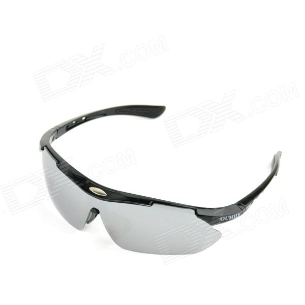 OUMILY Men's UV400 Protection Outdoor Cycling Windproof Sunglasses - Black + Grey