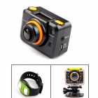 PANNOVO OLED 5.0 MP AP Wi-Fi Waterproof CMOS 1080P HD 170 Degree Sports Camera w/ IR Remote - Black