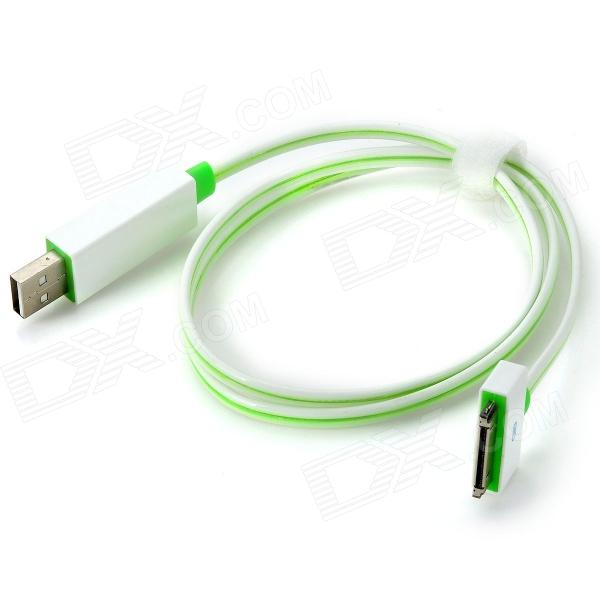 MFi Power4 Charge and Sync Cable w/ Visible Flowing Current for IPAD / IPHONE / IPOD - White + Green кабель для ipod iphone ipad interstep mfi золотистый 1м is dc mfistzngl 000b201