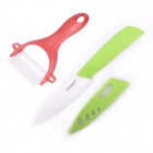 "4"" Ceramic Kitchen Knife w/ Peeler -  White + Green + Red"