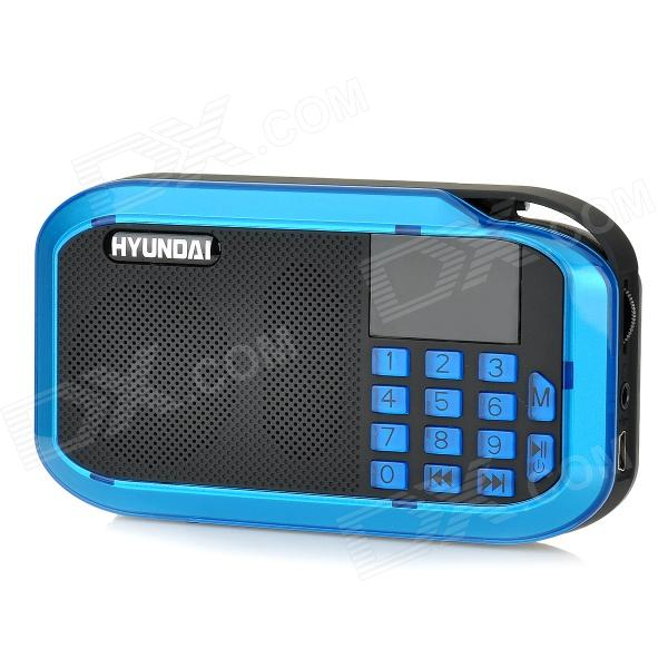 HYUNDAI H12 1.4 Screen 5W Digital Speaker w/ FM / TF / Mini USB - Blue + Black + Silver mini cylinder shaped bluetooth v2 0 speaker w fm tf mini usb usb blue black transparent