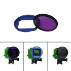 DL 58mm Blue High Precision CNC Aluminum Housing Converter + Underwater Color-Correction for GoPro 3