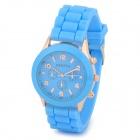 Fashion Water Resistant Plastic Band Quartz Analog Wrist Watch - Sky + Golden (1 x CR1220)