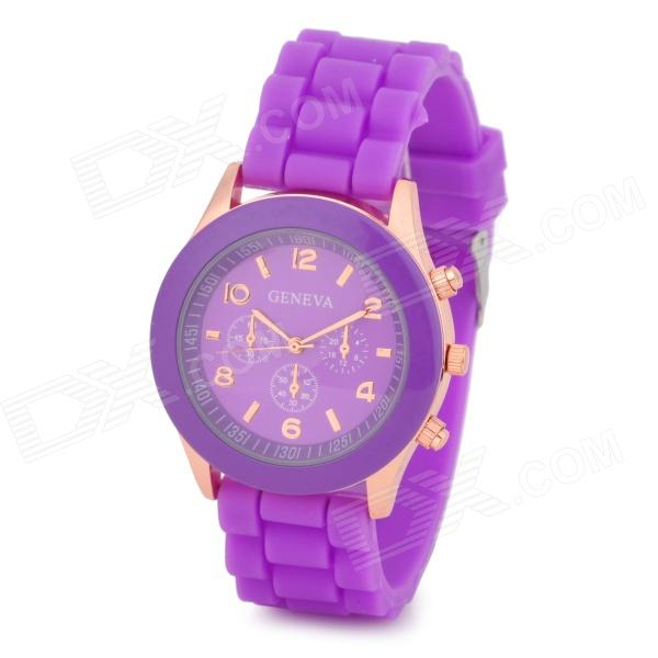 Fashion Water Resistant Plastic Band Quartz Analog Wrist Watch - Purple + Golden (1 x CR1220)
