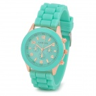 Fashion Water Resistant Plastic Band Quartz Analog Wrist Watch - Green + Golden (1 x CR1220)