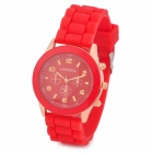 Fashion Water Resistant Plastic Band Quartz Analog Wrist Watch - Red + Golden (1 x CR1220)