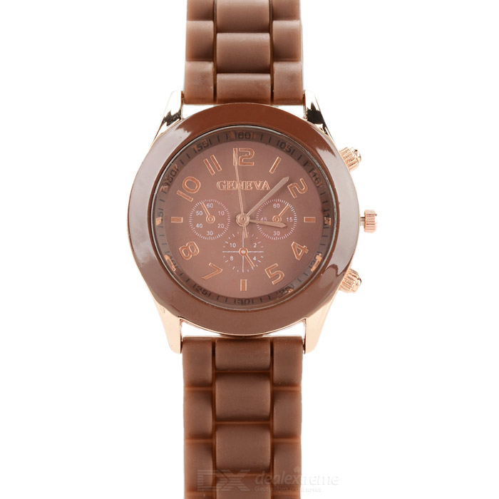 Fashion Water Resistant Plastic Band Quartz Analog Wrist Watch - Dark Coffee + Golden (1 x CR1220)