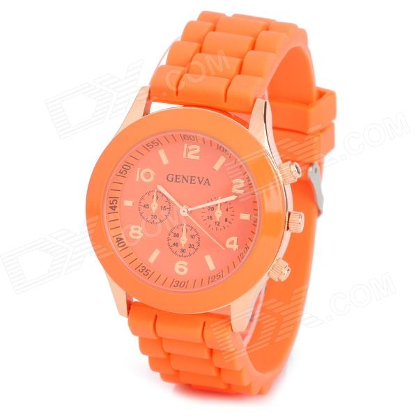 Fashion Water Resistant Plastic Band Quartz Analog Wrist Watch - Orange + Golden (1 x CR1220)