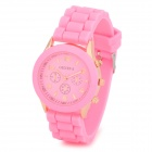 Fashion Water Resistant Plastic Band Quartz Analog Wrist Watch - Pink + Golden (1 x CR1220)