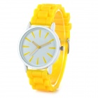 Classic Alloy Case Rubber Band Quartz Analog Wrist Watch - Yellow + White (1 x CR1220)