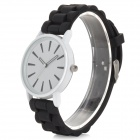 Classic Alloy Case Rubber Band Quartz Analog Wrist Watch - Black + White (1 x CR1220)