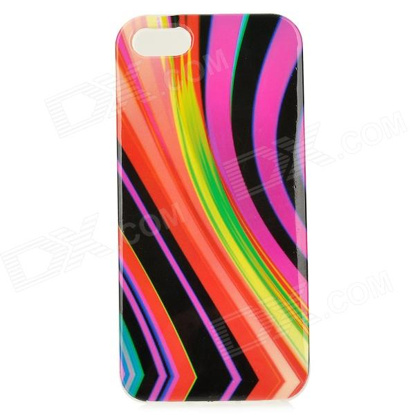 Strip Pattern Protective TPU Back Case for IPHONE 5G / 5S - Deep Pink + Multicolored