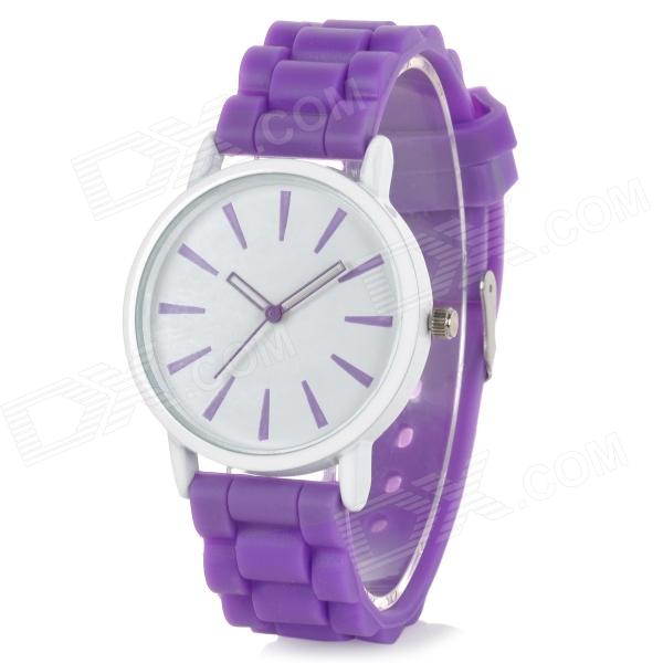 Classic Alloy Case Rubber Band Quartz Analog Wrist Watch - Purple + White (1 x CR1220)