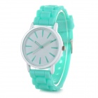 Classic Alloy Case Rubber Band Quartz Analog Wrist Watch - Light Green + White (1 x CR1220)