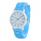 Classic Alloy Case Rubber Band Quartz Analog Wrist Watch - Blue + White (1 x CR1220)