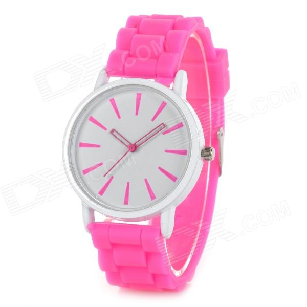 Classic Alloy Case Rubber Band Quartz Analog Wrist Watch - Pink + White (1 x CR1220) womage chic pencil shaped hour hands style quartz wrist watch with white dial for women hot pink