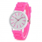Classic Alloy Case Rubber Band Quartz Analog Wrist Watch - Pink + White (1 x CR1220)