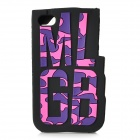 Fashion MLGB Letter Pattern Protective Silicone Back Case for IPHONE 4 / 4S - Purple + Black + Pink