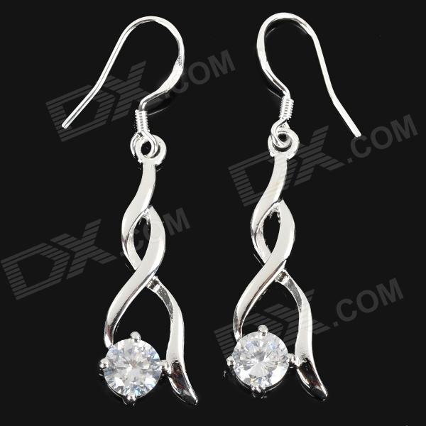 Фото Fashion 925 Sterling Silver Twist Style Dangle Earrings for Women - Silver (Pair) pair of charming titanium steel geometric earrings for women
