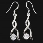 Fashion 925 Sterling Silver Twist Style Dangle Earrings for Women - Silver (Pair)