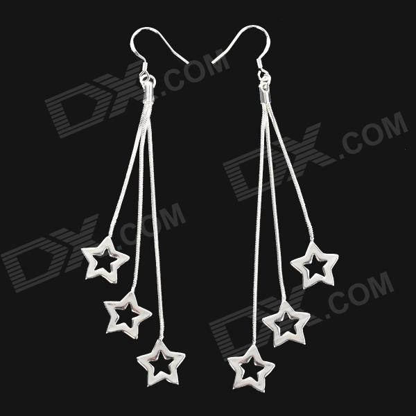 Фото Fashion Hollow Star Style 925 Sterling Silver Dangle Earrings for Women - Silver (Pair) pair of charming titanium steel geometric earrings for women