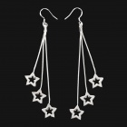 Fashion Hollow Star Style 925 Sterling Silver Dangle Earrings for Women - Silver (Pair)
