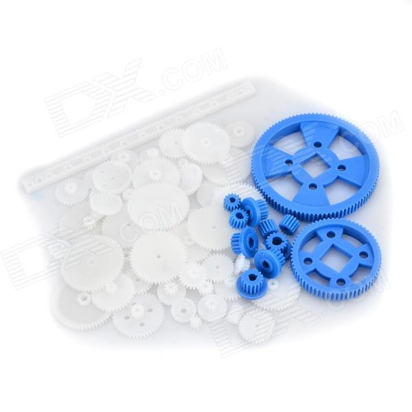 C-702 70-in-1 Plastic DIY Motor Gear Set - White + Deep BlueOther Accessories for R/C Toys<br>Form  ColorWhite + Deep BlueModelC-702MaterialPlasticQuantity1 DX.PCM.Model.AttributeModel.UnitCompatible ModelDIY model / robotPacking List1 x 0.5 gear bar1 x 3mm 15T gear1 x 4mm 15T gear1 x 2.3mm motor gear1 x 3.175 gear1 x MXL main gear (3mm, D hole)2 x 4mm gears2 x 5mm gears1 x 96T gear1 x 64T gear58 x Gears<br>