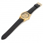 Men's Sports Skeleton PU Leather Band Self-Winding Mechanical Analog Wrist Watch - Black + Golden