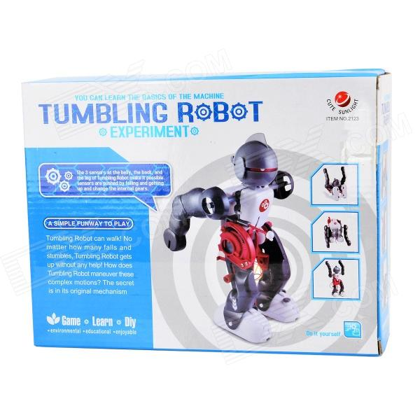Electric Tumbling 3-Mode Assembling Robot Toy - White +Grey + Red (2 x AA)