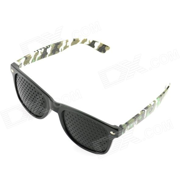 OUMILY Eyesight Vision Improve Plastic Frame Pinhole Glasses Eyeglasses -Black + camouflage