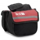 BOI 12850 Outdoor Cycling Polyester Bike Top Tube Double-Bag - Black + Red