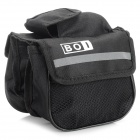BOI 12850 Outdoor Cycling Polyester Bike Top Tube Double-Bag - Black
