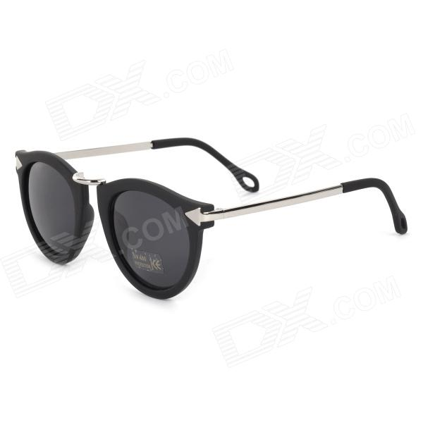 Oulaiou 771 Women's Stylish Retro Round Lens Sunglasses - Black + Silver