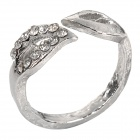 Leaf Style Zinc Alloy + Rhinestones Ring for Women - Silver