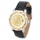 Men's Sports Skeleton PU Leather Band Self-Winding Mechanical Analog Wrist Watch - Golden + Black