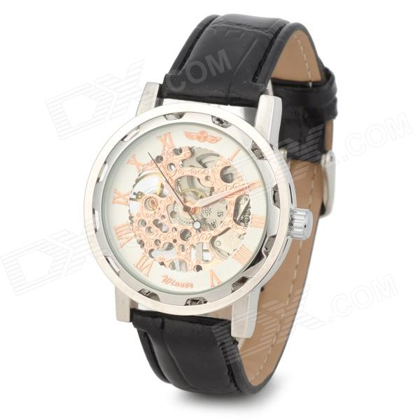 Men's Sports Skeleton PU Leather Band Self-Winding Mechanical Analog Wrist Watch - Black + Champagne