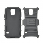 Protective Plastic + TPU Back Case w/ Stand for Samsung Galaxy S5 - Black