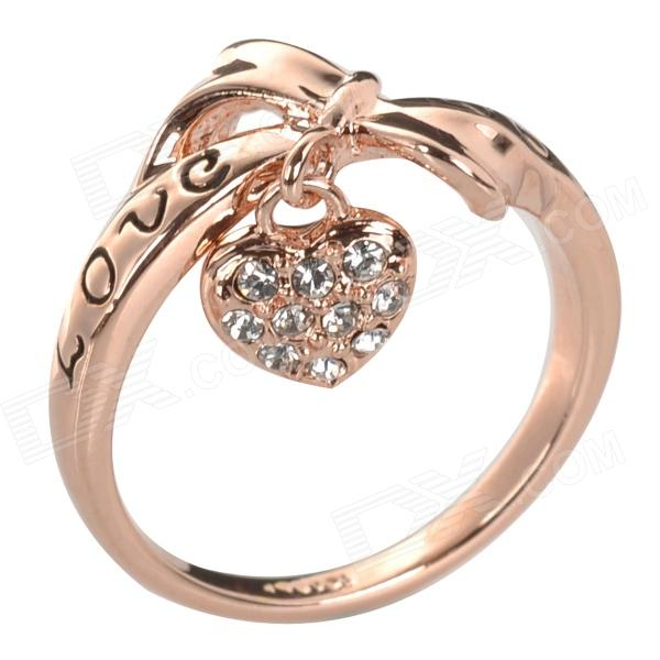 Embedded LOVE Pattern 18K Gold-Plated Zinc Alloy Ring w/ Heart Pendant for Women - Rose Golden creative zipper pattern zinc alloy ring golden silver