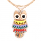 Retro Zinc Alloy Owl Style Pendant Necklace for Women - Golden + Black + Multicolored