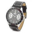 Fashion PU Band Self-Winding Mechanical Analog Wrist Watch w/ Calendar for Men - Black + Silver