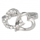 Heart Style Zinc Alloy + Rhinestones Ring for Women - Silver